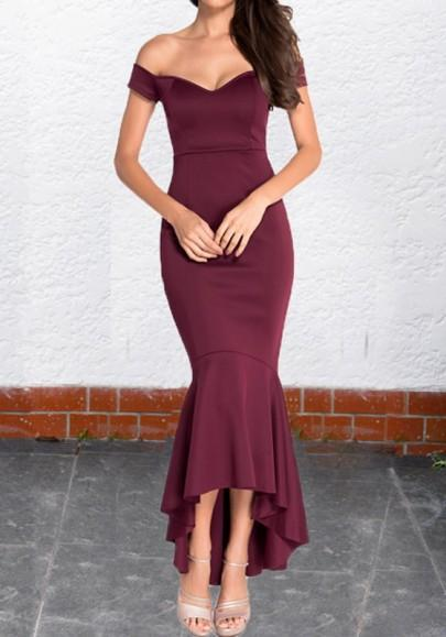 DaysCloth Burgundy Off Shoulder Irregular Mermaid Boat Neck Elegant Maxi Dress