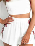 Rose Halter Embroidered Crop Top Shorts Set