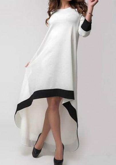 DaysCloth White Plain Irregular Round Neck Swallowtail Fashion Maxi Dress