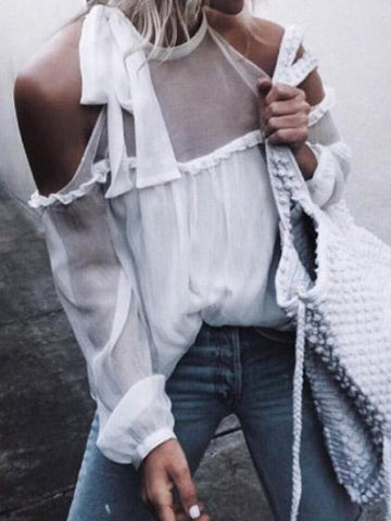 Sexy Chiffon Off Shoulder White Long Sleeve Top