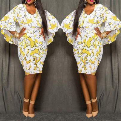 DaysCloth Yellow Floral African Tribal Print Chiffon Cape Cloak Bodycon Plus Size Club Party Skinny Pencil Midi Dress
