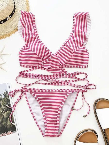 Fashion Striped Flounce Lace Up Bikini Set