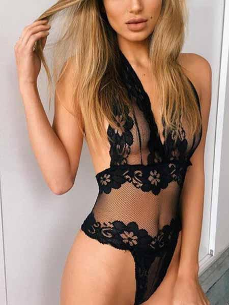 Black Halter Open Back Mesh Panel Lace Bodysuit