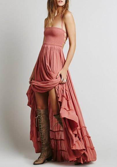 DaysCloth Pink Patchwork Pleated Sleeveless Fashion Dacron Maxi Dress