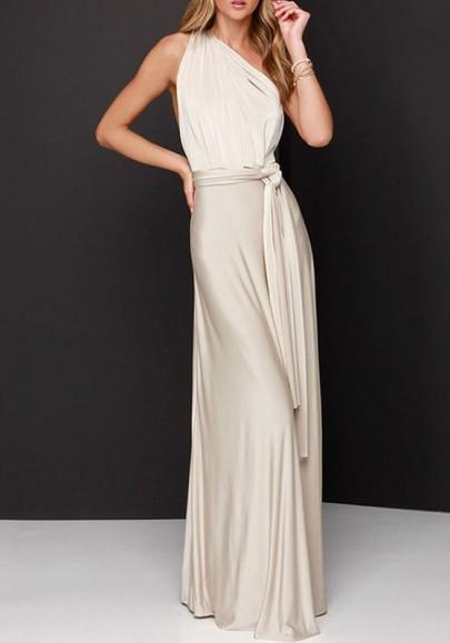 DaysCloth Beige Plain Asymmetric Shoulder Draped Belt Sleeveless Maxi Dress