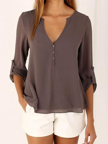Brown V neck Button Detail Dip Back Blouse