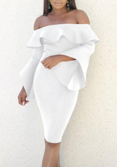 DaysCloth White Ruffle Backless Off Shoulder Flare Sleeve Bodycon Prom Party Midi Dress