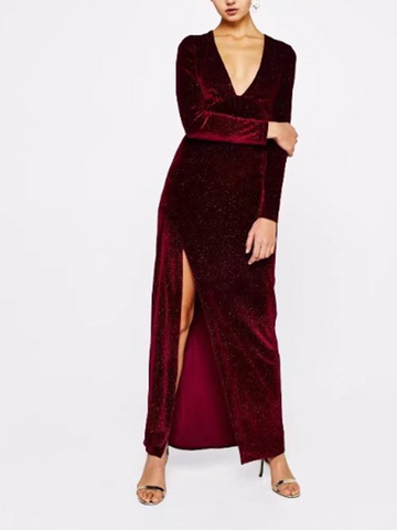 DaysCloth Burgundy Velvet Plunge Thigh Split Long Sleeve Maxi Dress