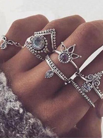 Boho Vintage Jewelry Style Rings(Set Of 8 )