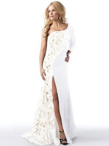 DaysCloth White One Shoulder Lace Panel Thigh Split Dress
