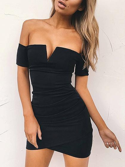 Black V-neck Off Shoulder Bodycon Mini Dress