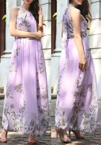 DaysCloth Light Purple Floral Print Belt Round Neck Bohemian Chiffon Maxi Dress