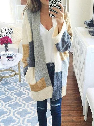 DaysCloth Fashion Knit Multi color Long Sleeve Cardigan