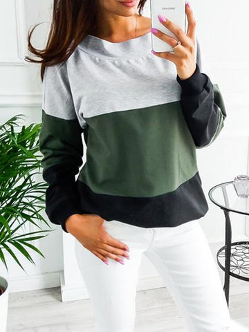 Casual Crew Neck Color-Block Bow Sweatshirt