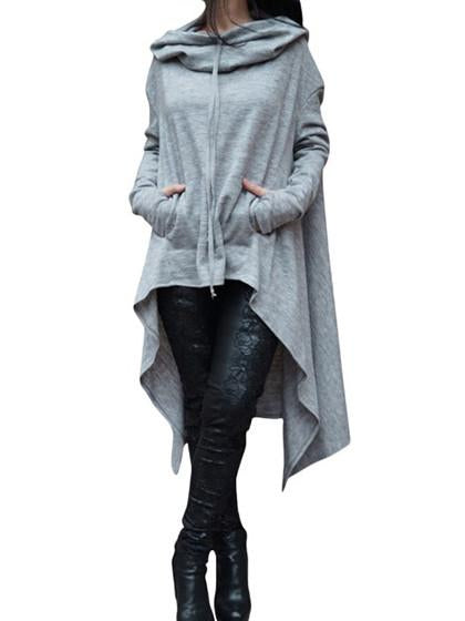 Casual Basic Irregular Hoodie Long Sleeve Pullover Top
