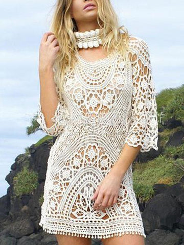 DaysCloth White Cut Out Detail Open Back Lace Mini Dress