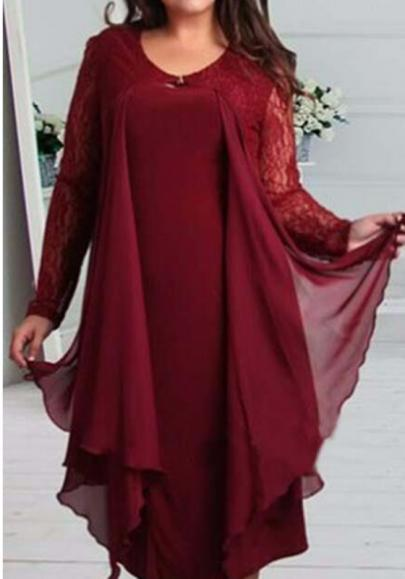 DaysCloth Burgundy Patchwork Lace Draped Plus Size Long Sleeve Fashion Maxi Dress
