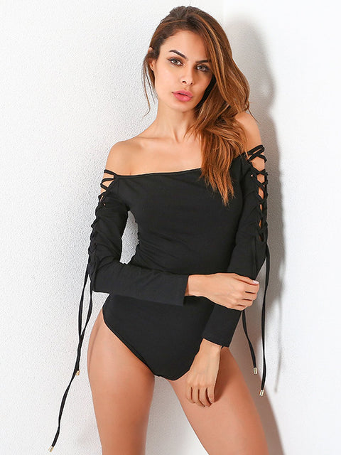 DaysCloth Black Off Shoulder Lace Up Sleeve Bodysuit