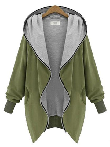 DaysCloth Casual Zipper Hoodie Cape Coat