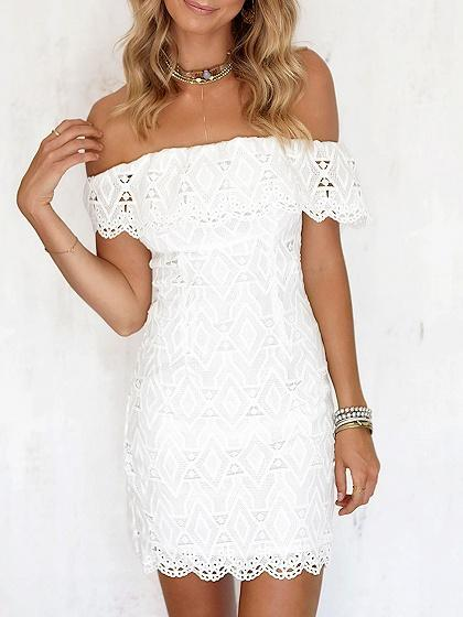 DaysCloth White Off Shoulder Lace Bodycon Mini Dress