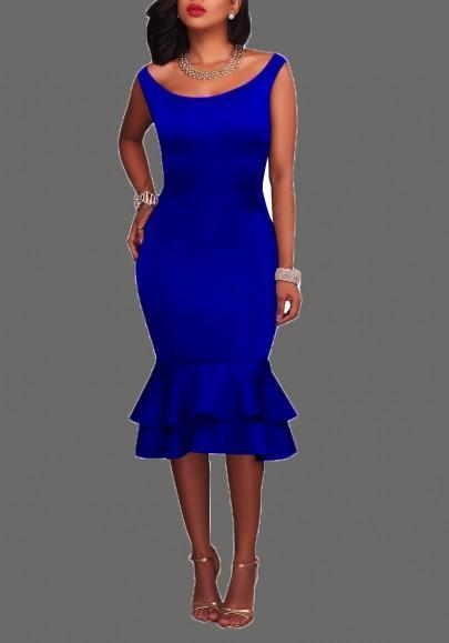DaysCloth Royal Blue Double Ruffle Bodycon Plus Size Round Neck Party Maxi Dress