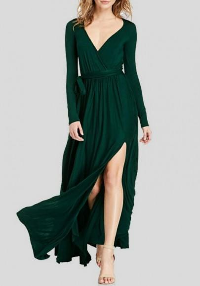 DaysCloth Dark Green Irregular Sashes Draped Deep V-neck Front Slit Elegant Party Maxi Dress