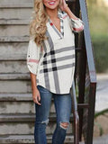 Fashion V Neckline Casual Plaid Shirt Work Top