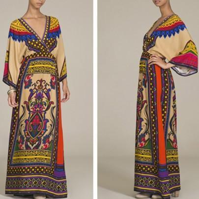 DaysCloth Yellow Floral African Tribal Print V-neck Long Sleeve Maxi Dress