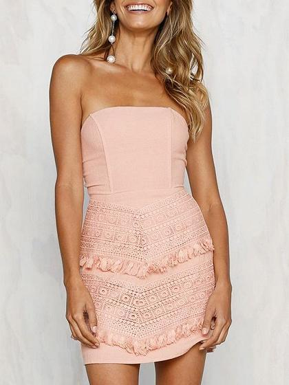 DaysCloth Pink Bandeau Lace Detail Tie Back Mini Dress
