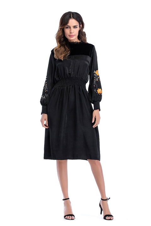 DaysCloth Black Velvet Embroidery Detail Long Sleeve Dress