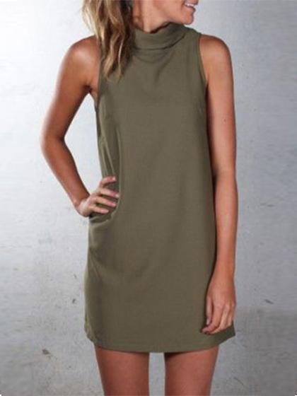 DaysCloth Fashion Sleeveless Solid Color Dress