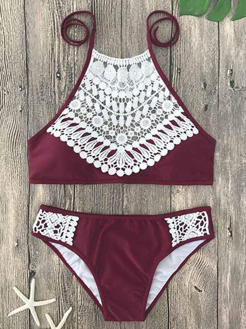 DaysCloth Boho Ladies Lace Halter Bikini Set