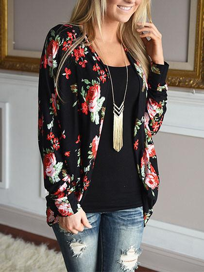 Cute Floral Print Casual Open Collar Cardigan