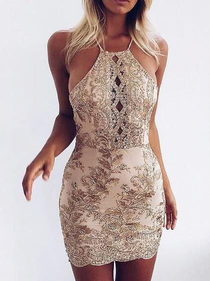 DaysCloth Golden Embroidery Lace Halter Cross Strap Back Bodycon Dress