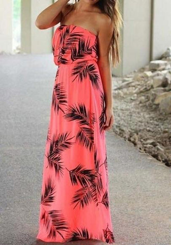 DaysCloth Red Floral Bandeau Draped Boat Neck Sleeveless Loose Maxi Dress