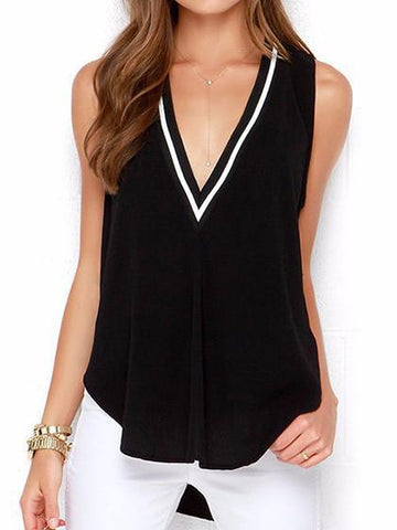 Simple Sleeveless V Neck Top Camisole