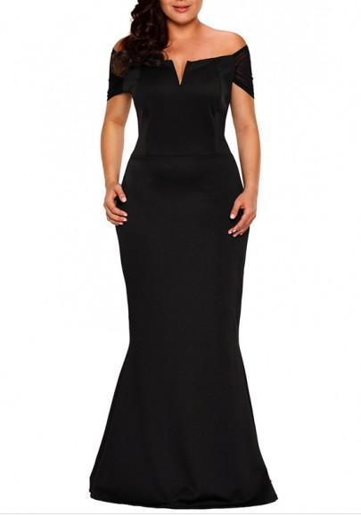 DaysCloth Black Bandeau Zipper Off Shoulder Backless Plus Size Banquet Prom Party Maxi Dress