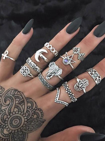 DaysCloth Boho Vintage Hollow out Alloy Rings (Set Of 13 )