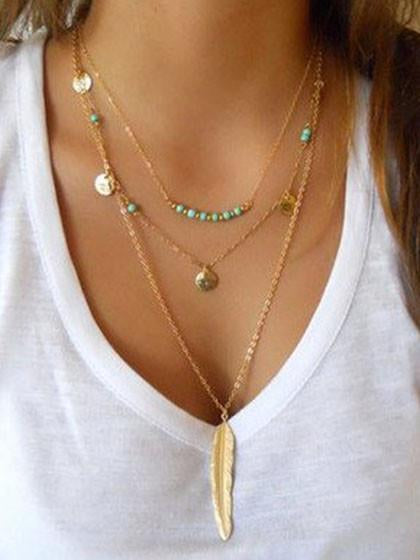 Golden Geo And Leaf Shape Multirow Chain Necklace