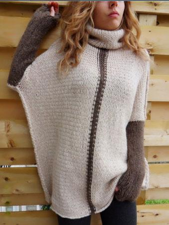 Pink High Neck Contrast Sleeve Knit Sweater