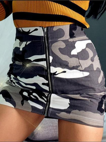Camouflage High Waist Zip Front Mini Skirt