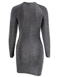 Black Cut Out Metallic Yarn Long Sleeve Bodycon Mini Dress