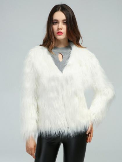White Fluffy Long Sleeve Faux Fur Coat