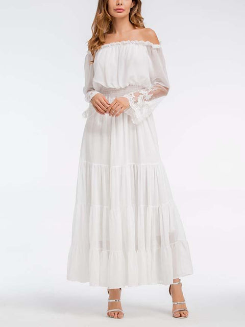 DaysCloth White Off Shoulder Lace Panel Flare Sleeve Dress