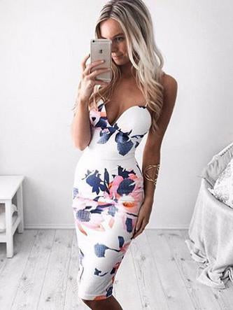 Fashion Floral Print Sleeveless Halter Bodycon Dress