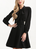 Black Bow Tie Front Metal Button Detail Open Back Mini Dress