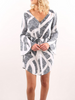 DaysCloth Black Color Block V Neck Tie Waist Long Bell Sleeve Dress