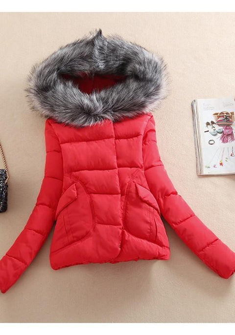 DaysCloth Red Patchwork Pockets Buttons Zipper Fur Collar Hooded Padded Coat