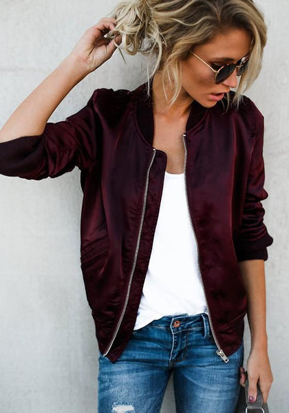 Red Plain Zipper Pockets Round Neck Sports Coat