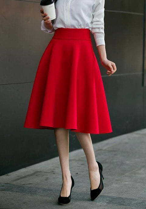 DaysCloth Red Zipper Draped High Waisted A-Line Vintage Flared Skirt